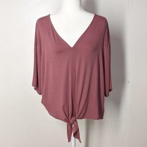 Kim & Cami Dusty Rose Top With Front Tie